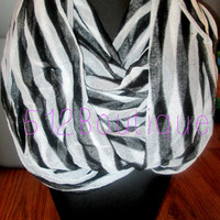 Black Striped Infinity Scarf