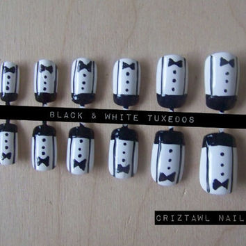 Black & White Tuxedos Nail Art Set by CriztawlNailz on Etsy