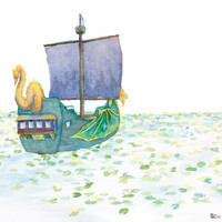 The Sea of Lilies Narnia Print - Archival Quality Watercolor Giclee - Chronicles of Narnia Dawn Treader Art