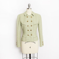Vintage VALENTINO Boutique Jacket - Green Wool Fitted Blazer 80s Designer - Small S