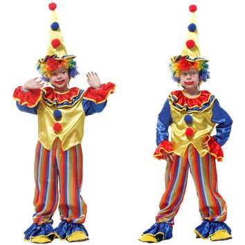 Free shipping Halloween Cosplay Costumes Children Circus Clown Naughty Harlequin Fancy Fantasia Infantil for Boys Girls Dress up