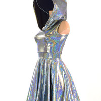 Sleeveless Silver Holographic Hoodie Skater Dress