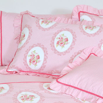 Pink Floral Bedding in Full Queen King Size - Victorian Rose Print Cotton Fabric - Shabby Chic Bedding Set - 6 pcs Duvet Cover & Sheet Set
