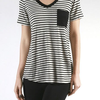 V-Neck Striped Basic Workout Casual Tee Shirts Top