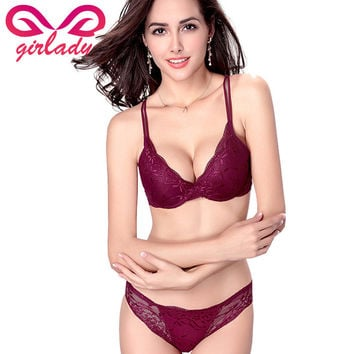 GIRLADY Sexy France Design Bra Briefs Set Lace Transparent Underwear For Women A B C Cup Lingerie Bras Red Wine Ensemble Femme