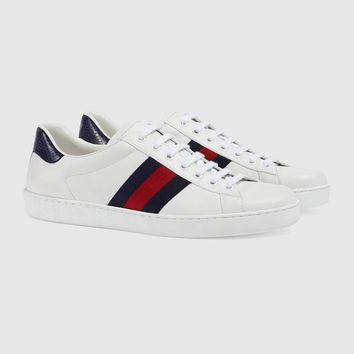 Gucci Ace Embroidered White Leather Low-top Sneaker