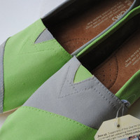 Custom Hand Painted TOMS in Lime Green and Light Gray