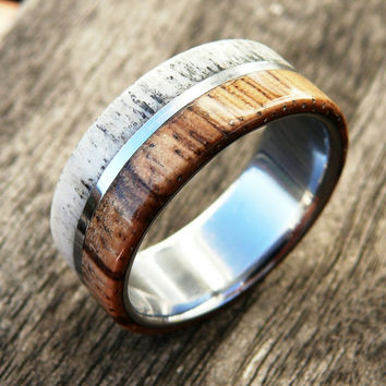 Mens Wood Deer Antler Wedding Ring