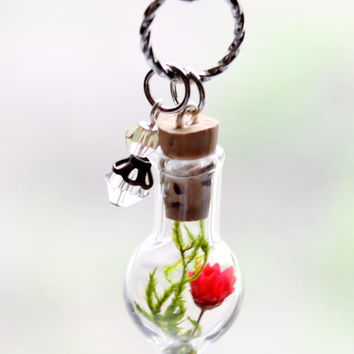 Red Flower Terrarium Necklace Nature Jewelry Mini Glass Bottle, Moss and Champagne Crystal