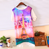 Paris Eiffel Tower Fireworks Short Sleeves Graphic Tee Multiple Colors