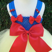 snow white  tutu dress costume with matching red bow headband perfect for birthday parties or dress up fits sizes 2T-5T