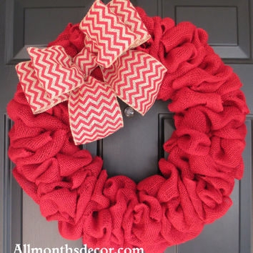 Red Burlap Wreath with Red Chevron Burlap Bow, Large Wreath, Easter, Spring, Fall, Autumn Home Door Decor, Housewares, Door Hanger