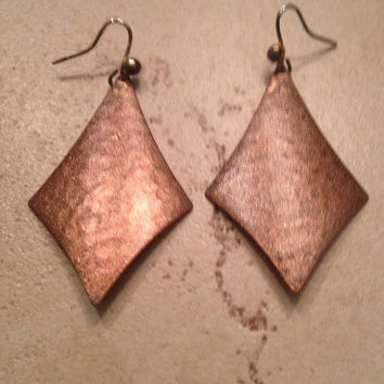 Vintage Copper Earrings Hammered Dangle Boho Jewelry