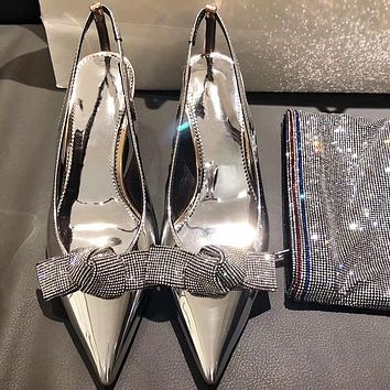 Fashion silver rhinestone pointed women's shoes back high heel women's shoes bow toe sandals high heels