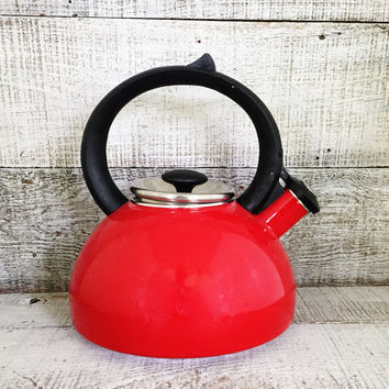 Tea Kettle Enamel Tea Kettle Retro Red Metal Teapot with Resin Handle Vintage Whistling Tea Kettle Red Teapot Mid Century Kitchen Decor