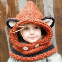 Knit Fox Hat Crocheted Animal Hat Baby Shower Gift Photo Prop Fox Beanie Winter Hat Fox Hood Toddler Fox Hat Orange Fox Hat Hooded Cowl Kids