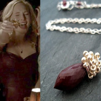 As seen on The Vampire Diaries Caroline S5E516 Bite of the Vampire Gemstone necklace Vitrine Blood Red