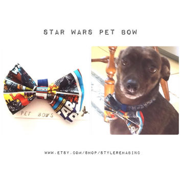 Star Wars Pet Bow. Comicbook pattern Slides on easily to most collars. For dogs, cats, pig. Great for pictures, visits, holiday