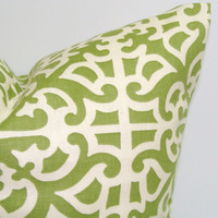 Green Pillow.12x16 or 12x18 inch Decorator Lumbar Pillow Cover.Travel Pillow.Printed Fabric Front and Back.Home Decor