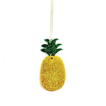 Sparkly Pineapple Necklace - Acrylic Pineapple Jewelry, Pineapple Jewellery, Summer Necklace, Fruit Necklace, Fruity Jewellery