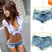 2014 New Summer Women's Vintage High Waist Denim Shorts Women Jeans Low Waist Solid Button Pockets Sexy Ladies HotPants = 1930008900