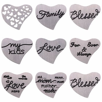 Heart Shape Stainless Steel Floating Plates Floating Locket Charms Window Plates For Glass Living Heart Locket Pendant