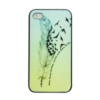 Voberry Hipster Feather Quote Fly Ombre Birds Plastic Case Cover for Apple iPhone 4 4S (tybv8) (tybv8)