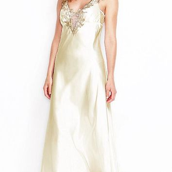 Stella Ivory Charmeuse Nightgown w/Lace Appliqué (Robe Available)(Small-3X)