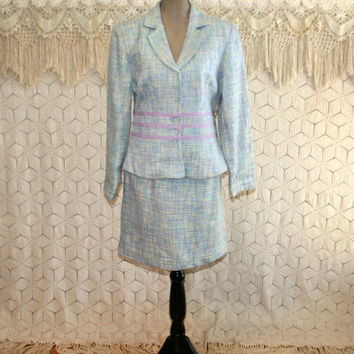 90s Pastel Spring Suit Womens Tweed Skirt Suit Petite Medium Boho Light Blue Lavender Chadwicks 1990s New Vintage Clothing Womens Clothing