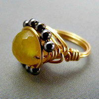 Yellow Agate and Hematite Wire Wrapped Ring - 24K Gold Plated Wire