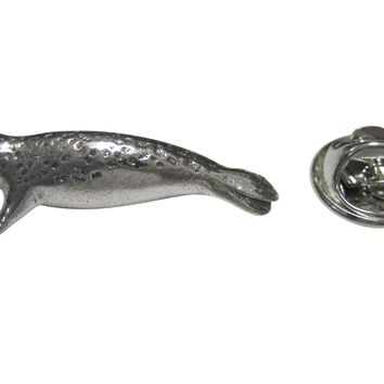 Silver Toned Textured Seal Lapel Pin