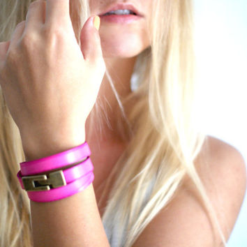 Wrap Bracelet in Hot Pink by makunaima on Etsy