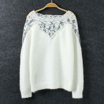 Black White Winter Keep Warm Women Sweater Mohair Knitted Sweater O Neck Lace Flora Skeleton Big Size Pullovers Sweater S23