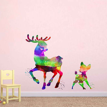 kcik2101 Full Color Wall decal Watercolor Bambi Character Disney Sticker Disney children's room Fawn