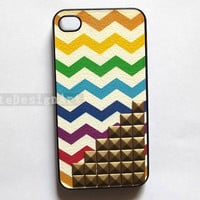 studded iphone 4 case, iphone 4s case hard case iphone 4s cover - rainbow iphone 4 hard case