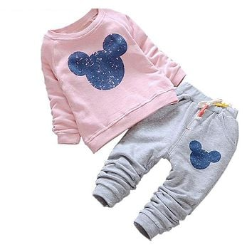 Baby Girl Clothes Spring Baby Clothing Sets Cartoon Printing Sweatshirts Casual Pants 2Pcs