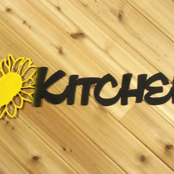 Metal Wall Art Metal Wall Words Kitchen with Sunflower By PrecisionCut