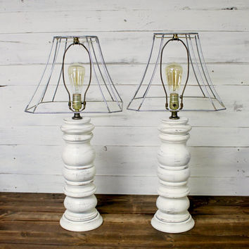 Exceptional Shabby Chic Vintage Lamp Set   Farmhouse Antique   Farmhouse Lamp   Vintage  Lighting   Shabby