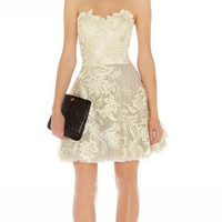 Sweat princess strapless embroidery skirts / party dress-beige from Girlsfriend