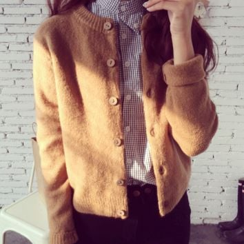 Single Breasted  Ribbed Long Sleeves Cardigan Sweater