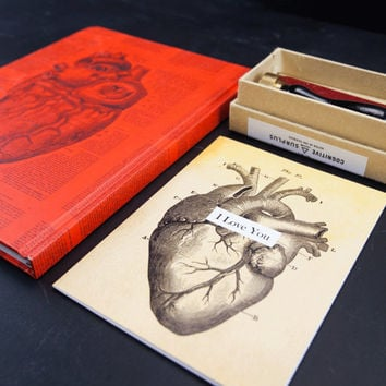 My Heart Beats For You Gift Pack: Valentine's Day Love Gift Idea, anatomical heart, future doctor, future nurse, Notebook, Wax Seal