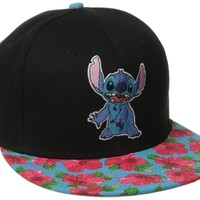 Disney Men's Stitch Embroidered Patch Flat Brim Cap with Hibiscus Visor, Black, One Size