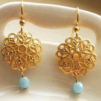 Gold Filigree Earrings with Turquoise Blue Glass Drops