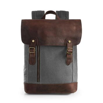 ECOSUSI Unisex Vintage Canvas Leather Laptop Backpack Rucksack Travel Bags Casual Daypacks - Fits laptop up to 15.6""