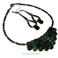 Tribal Fan Necklace With Matching Earrings Set Natural Stone