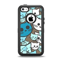 The Blue and Pink Vector Faced Cats Apple iPhone 5c Otterbox Defender Case Skin Set