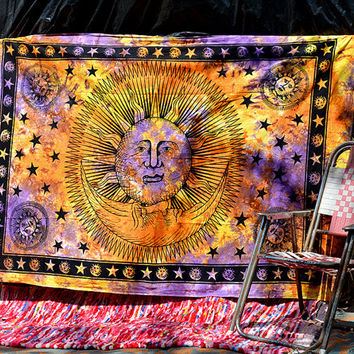 Tie-Dye Cotton Tapestry, Psychedelic Sun Celestial Wall Hanging Tapestries, Hippie Boho Bohemian Tapestries, Ethnic Home Decorative Throw