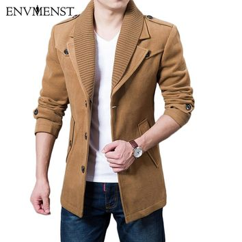 2017 Business Men Casual Warm Coats Size M-3XL High Quality Double Collar Winter Trench Coat Thicken Man Fashion Wool Clothings