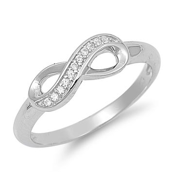 925 Sterling Silver CZ Channel Infinity Ring 6MM