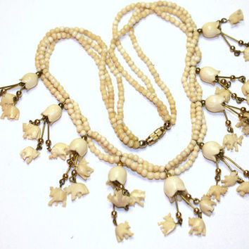 Vintage Necklace FAUX Ivory Ox Bone  Elephant Bib 1920 by patwatty